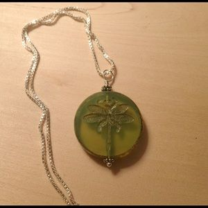 Jewelry - Lime Green Dragonfly Pendant Necklace